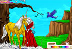 تلوين الاميرة والحصان